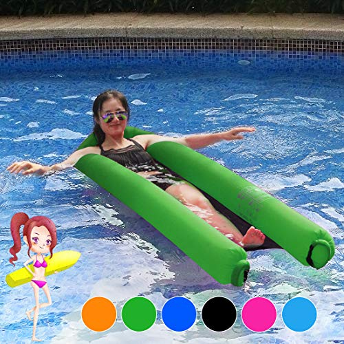 JINSEY Pool Floats Giant Water Hammock 440lb Capacity No Leak Ripstop Fabric Fast Inflated No Pump Needed (Green)