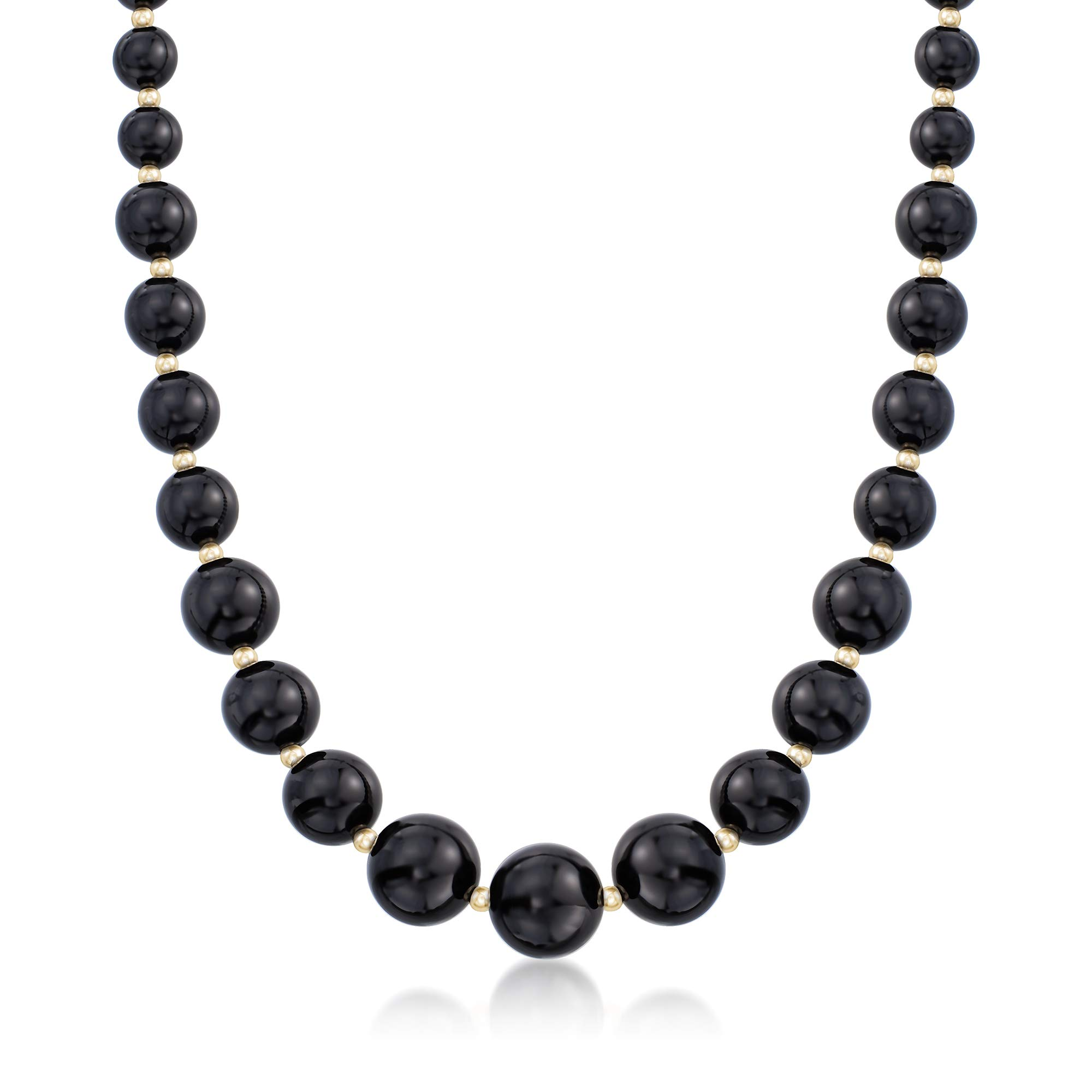 Ross-Simons 6-14mm Black Onyx Graduated Necklace in 14kt Yellow Gold