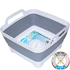DUYKQEM Dish Basin Collapsible with Drain Plug Carry Handles for 9 L Capacity, Collapsible Sink Tub, Dish Wash Basin, Portable Dish Tub, Foldable Dishpan for Camping Dish Washing Tub and RV Sink
