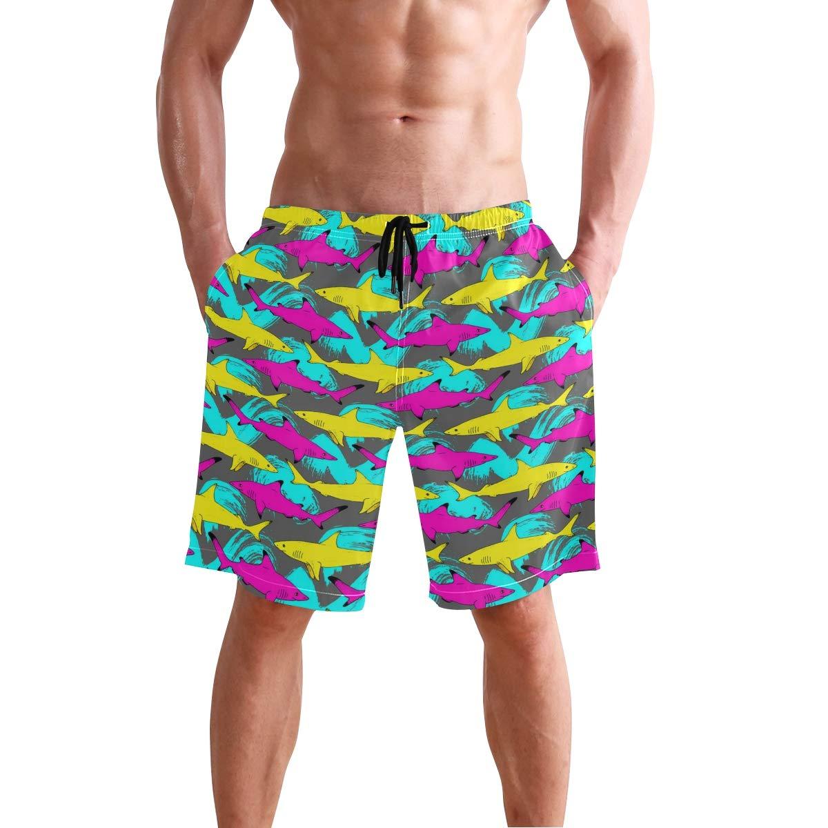 Shark Sea Animal Pattern Mens Swim Trunks 3D Printed Beach Board Shorts with Pockets for Teen Boys