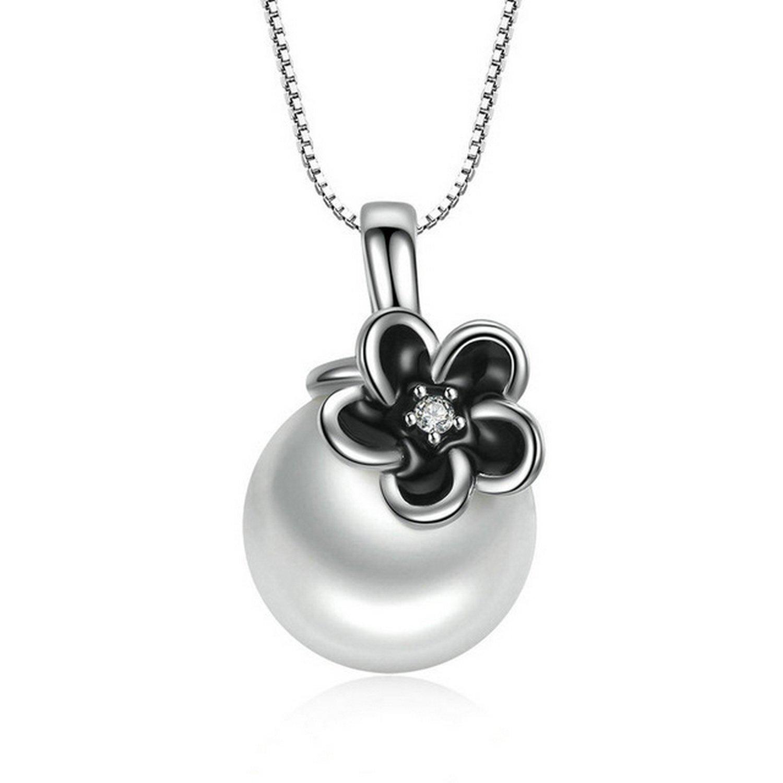 CS-DB Pendants Mystic Floral White Pearl Silver Necklaces