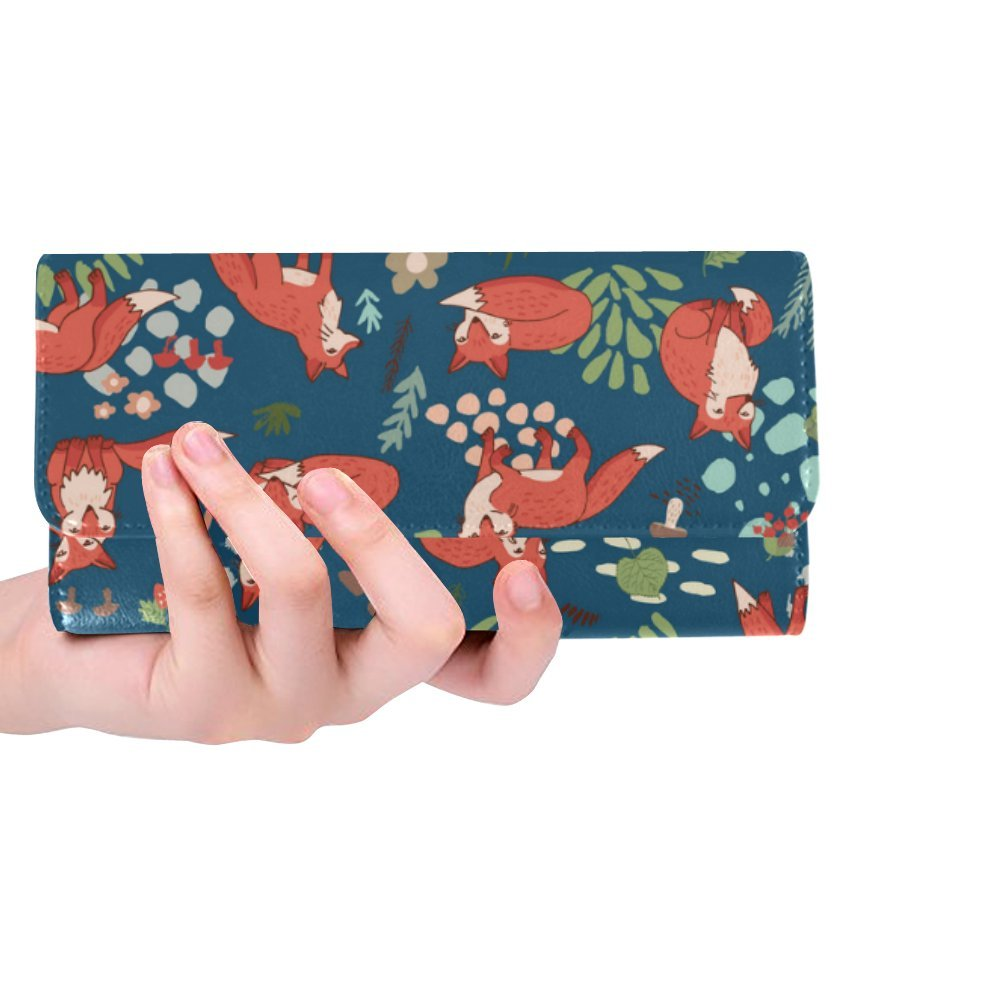 Silly Meow Forest Fox Custom Women's Wallet Women's Trifold Long Clutch Wallets Great Gift