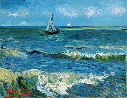 Oil Saintes Maries - Vah Gogh Seascape 1888 NSeascape Near Les Saintes-Maries-De-La-Mer Oil On Canvas Vincent Van Gogh 1888 Poster Print by (18 x 24)