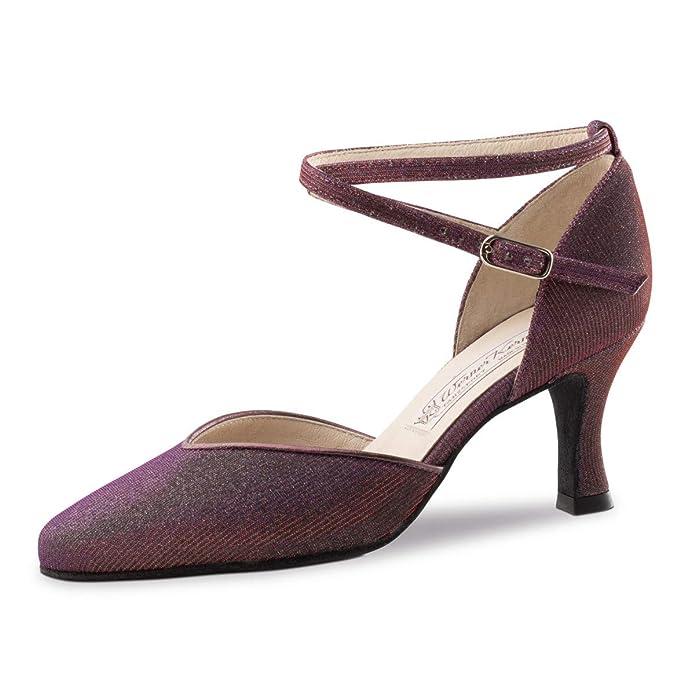 6,5 cm Werner Kern Made in Italy Brokat Violett Damen Tanzschuhe Bella