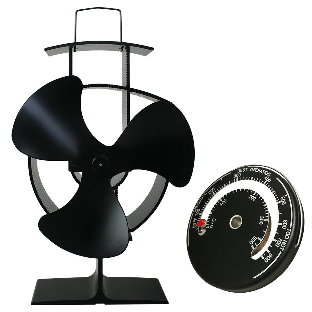 Lincsfire Silent Operation 3-Blade Stove Fan with Thermometer - Heat Powered Wood Log Burning Stove Fan Eco Friendly Heating Manufactured for Lincsfire