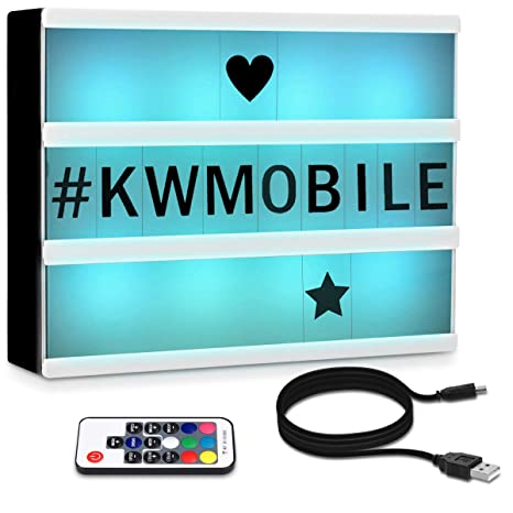 kwmobile Caja de luz cinematográfica LED A4 - Light Box con cambio de color y mando