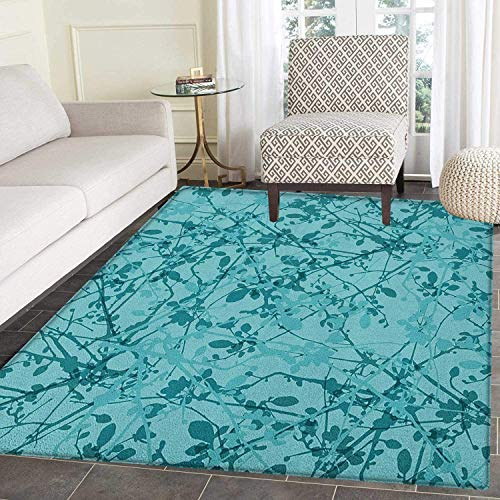 Teal Anti-Skid Area Rug Ink Drawing Inspired Intertwined Tree Branches Buds and Leaves in Abstract Design Door Mat Increase 3'x4' Teal Turquoise -  Yaoni, DTC-4179