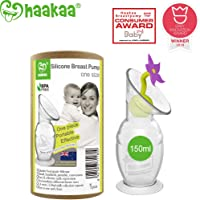 Haakaa Breast Pump Manual Breast Pump Silicone Pump Milk Saver with Suction Base and Flower Stopper Combo 100% Food Grade Silicone BPA Free (5.4oz/150ml) (Purple)