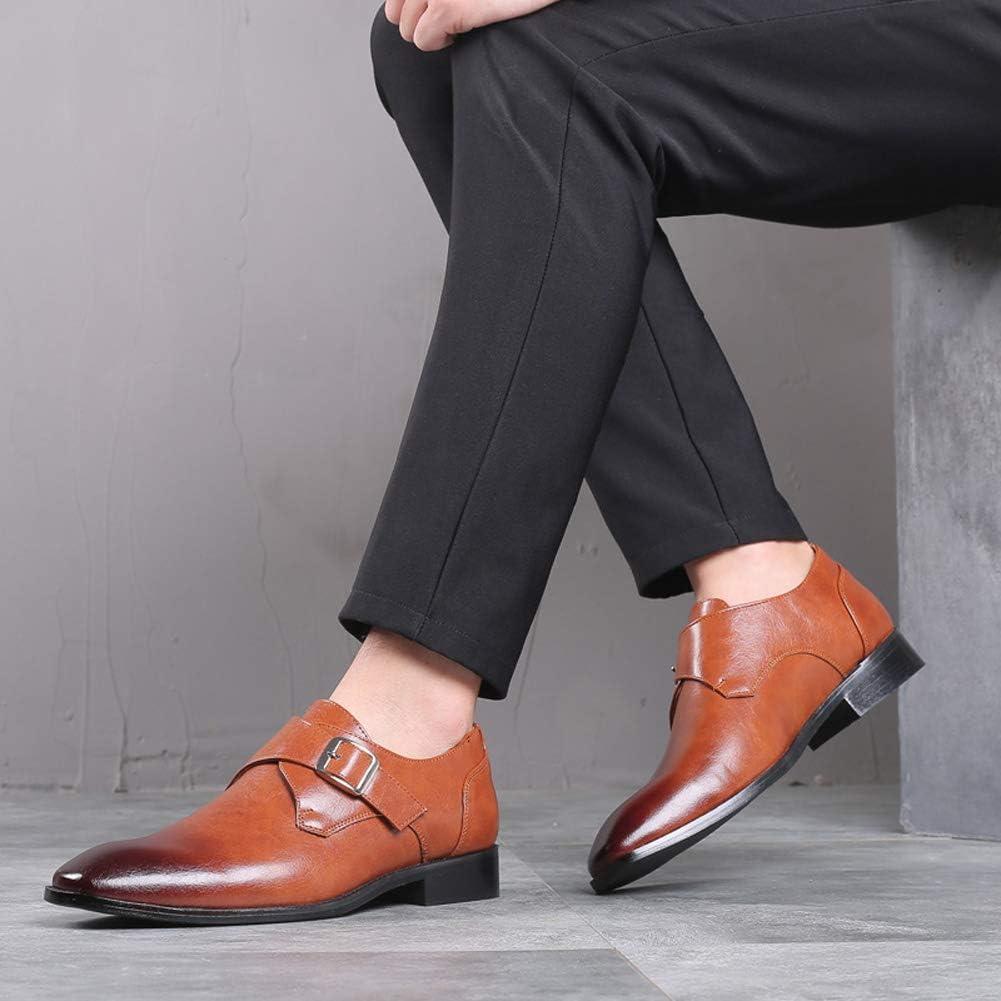 WMZQW Chaussures Hommes, Monk Strap Mode Mocassins Oxfords Formelles Affaires Casual Chaussures Habillées Confortables 38-48 Brown