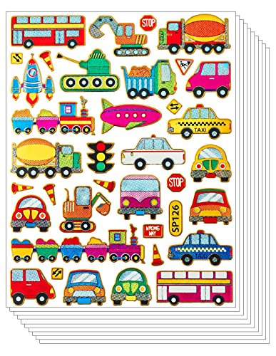 Toddler Costumes Ireland - Car Glitter Sticker - Vivid Truck Bus Tank Taxi Train Railway Van Booloon Vehicle Toy for Scrapbook Card Craft for Kids (10 sheets)