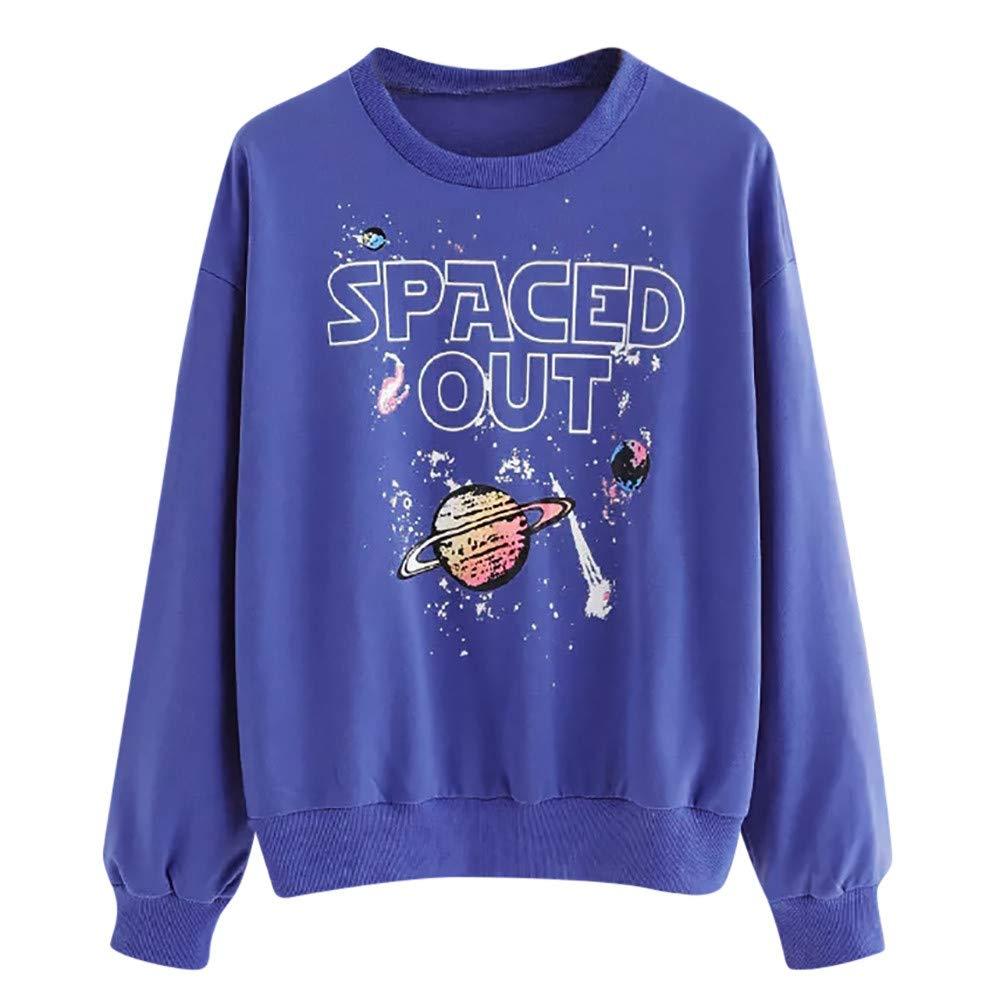 Kemilove Ladies Planet Print Round Neck Long Sleeve Sweatshirt