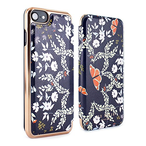 Official TED BAKER® AW17 Fashion Branded Mirror Folio Case for iPhone 8 / 7 , High Quality Premium Protective Wallet for Professional Women - MARIMAN - Kyoto Gardens Blue