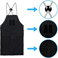 Houseables Leather Blacksmith Apron, Fire Resistant Welding/Welder Smock, 24 x 42 Inch, Black, Large, 2 Pockets, X Strap, Kevlar Stitching, Accessory for Blacksmithing, Carpentry, Torch Work, Roofing