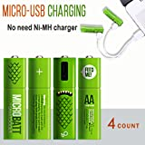 Smartoools AA& AAA Rechargeable Battery Ni-MH NiMH By Micro USB   Rechargeable Pre-Charged Batteries for Toys,Game Controller,Wireless Mouse, Keyboard, Free Cable included (4 count) (AA - 4 count)