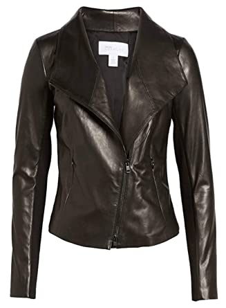 56745f0df Nordstrom Signature Women's Stand Collar Leather Jacket Large Black ...