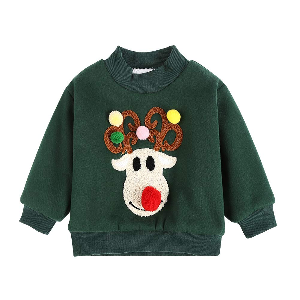 Gyratedream Kids Sweatshirt Long Sleeve Casual Tops Unisex Girls Boys Winter Thick Warm Pullover Christmas Embroidered Crewneck T-Shirt Tops Age 2-8 Years