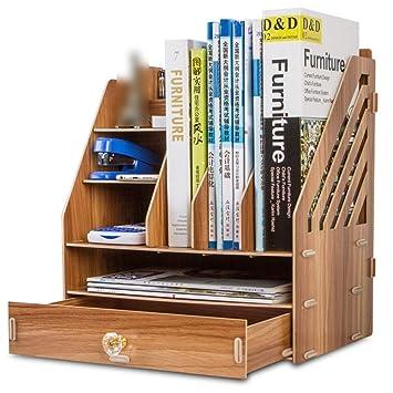 Eeayyygch Librería de Office Escritorio Caja de Almacenamiento Cajón Estantes de Madera de Acabado Cajas de Almacenamiento de Datos de Archivos, ...