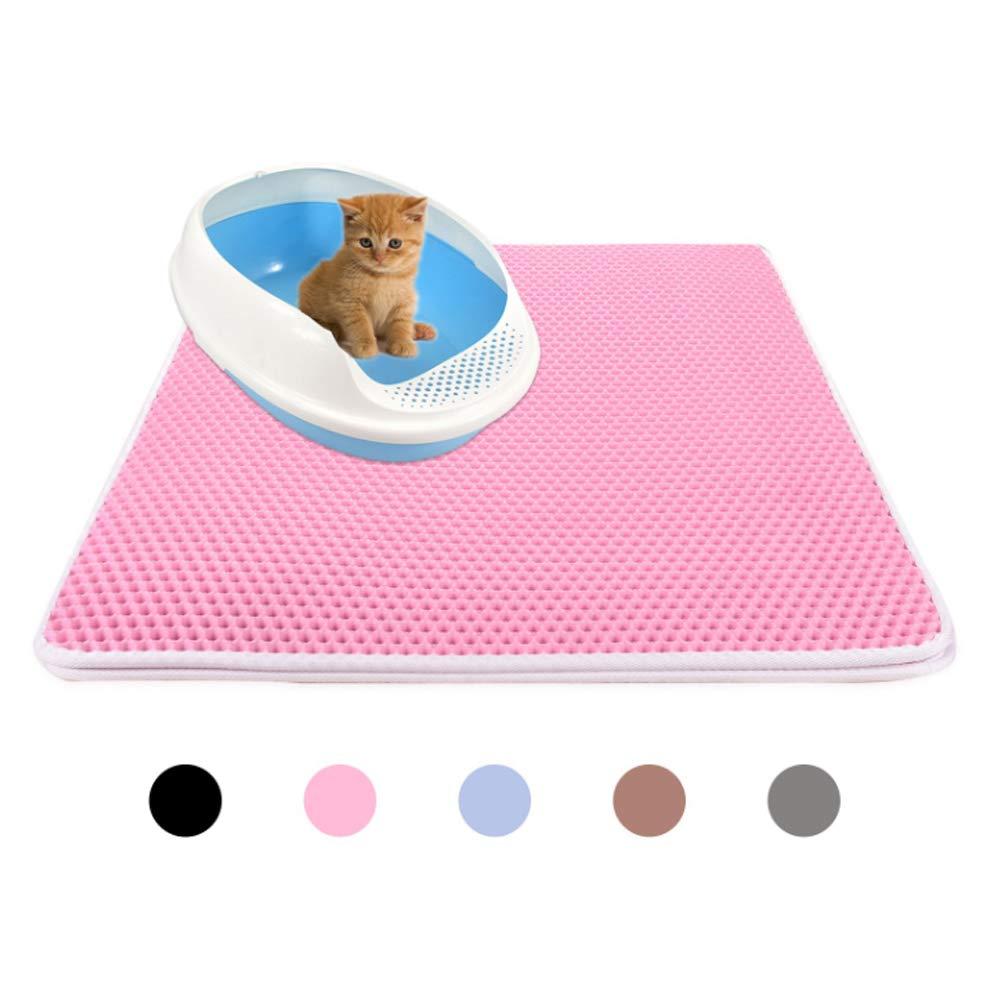 ROODO Cat Litter pad Cat Scratch pad Double Layer Cat Litter mat (XL, Pink)