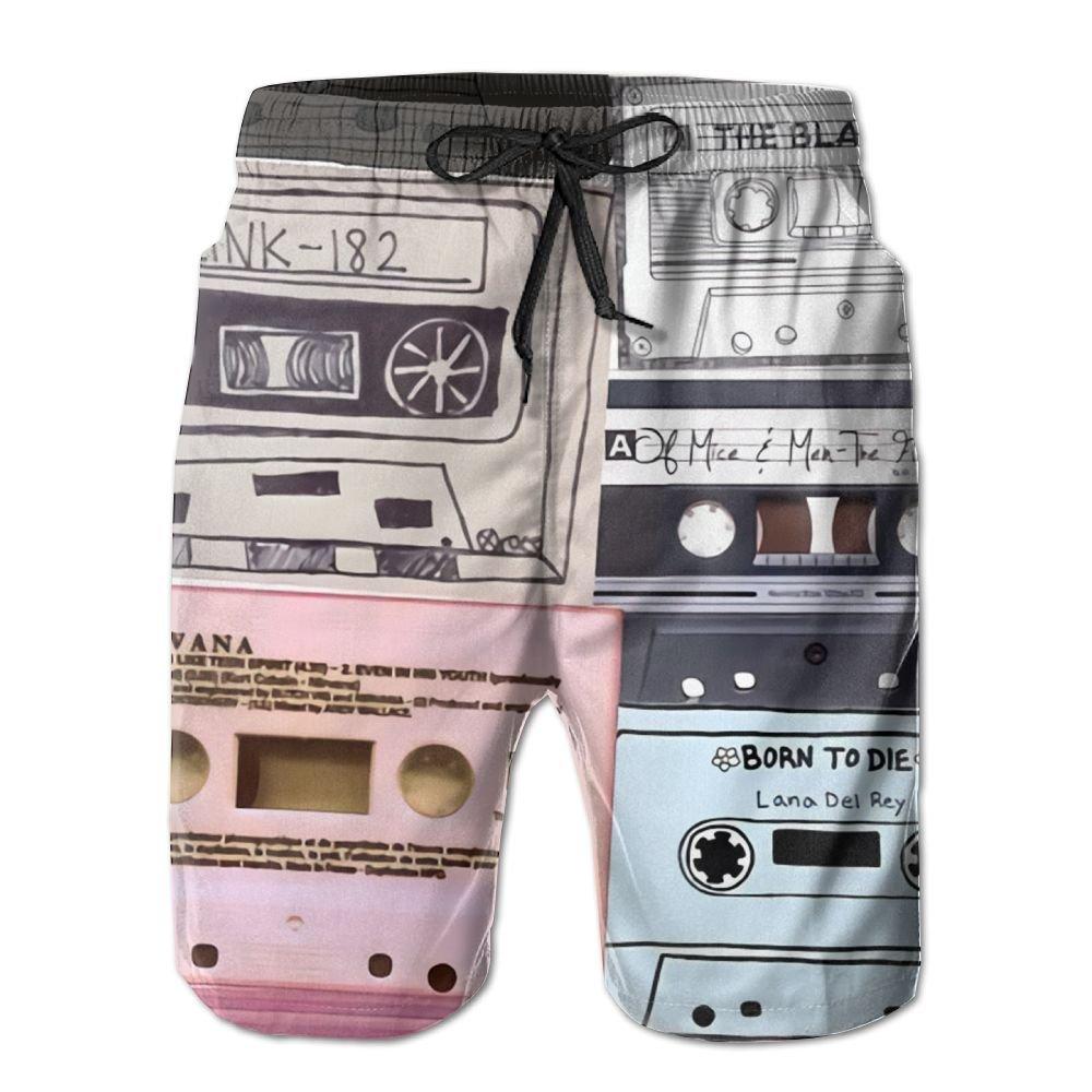 Amazon.com: Doppyee Mix Tape Printing Mens Yoga Board Short ...