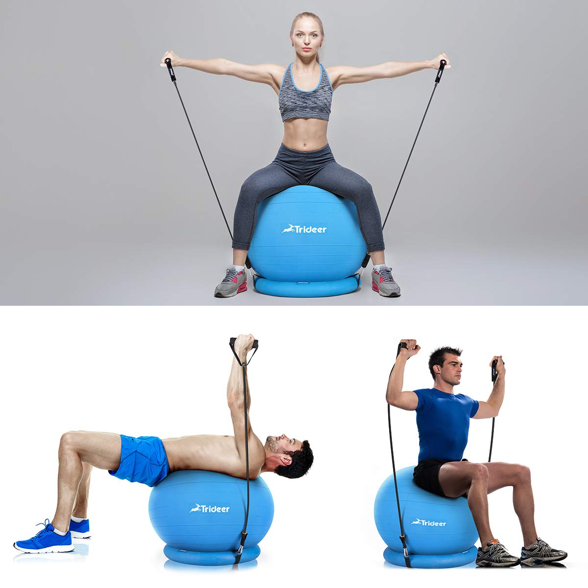 Trideer Ball Chair, Exercise Stability Yoga Ball with Base & Resistance Bands for Home and Office Desk, Flexible Ball Seat with Pump, Improves Balance, Core Strength & Posture (Dark Blue, 65cm) by Trideer