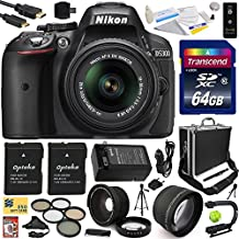 """Nikon D5300 24.2 MP CMOS Digital SLR Camera with 18-55mm f/3.5-5.6G ED VR II AF-S DX NIKKOR Zoom Lens (Black) (1522) with Exclusive Accessory Bundle Kit includes 64GB SD Memory Card + SD Card Reader + 60"""" Tripod + Hot Shoe Bubble Level Indicator + Small Hard Case + HDMI Cable + (2) Extra Battery + Charger + 52MM 5 Piece Filter Set + Shutter Remote Control + 2.2x Telephoto AF Lens + 0.35x Wide Angle Panoramic Macro Fisheye Lens + XGrip Stabilizing Handle Grip + Leather Camera Hand Strap + DVD"""