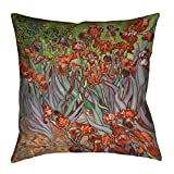 ArtVerse Vincent Van Gogh Irises in Orange Floor Pillows Double Sided Print with Concealed Zipper & Insert, 28'' x 28''