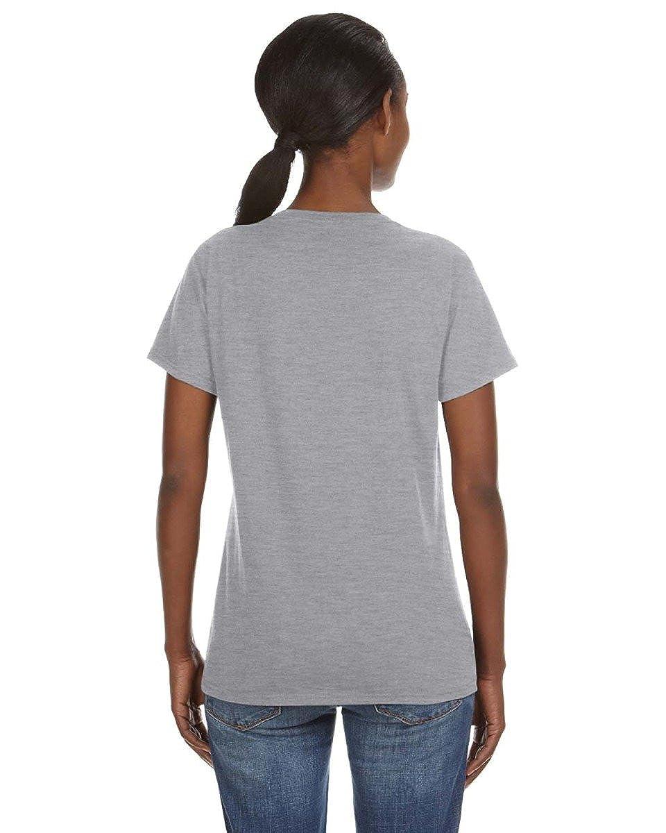 Anvil Missy Fit Ringspun V-Neck T-Shirt X-Large Heather Grey