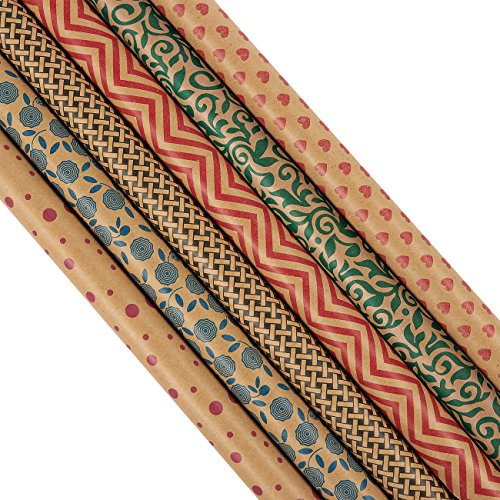 30 x 120 Inches Wrapping Paper and Gift Wrap Rolls - Pack of 6 - Assorted Kraft Gift Wrap Styles for All Occasions - Birthdays, Valentines, Christmas, 2.5x10 ()