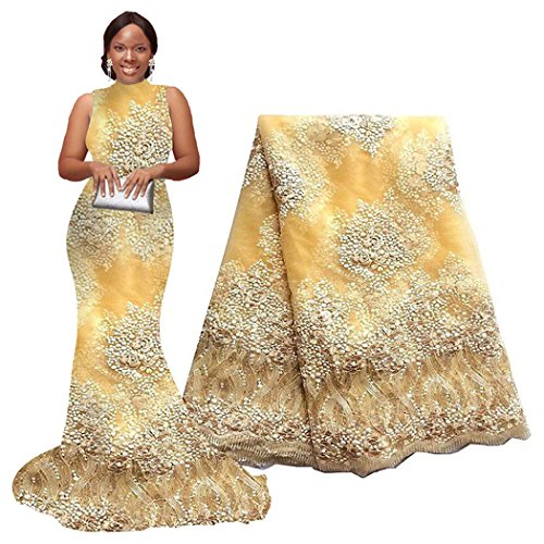 5 Yards African Lace Fabrics Nigerian French Beaded Tulle Fabric (Yellow) ()