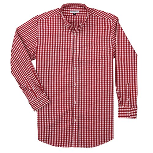 Men's Long Sleeve Button Down Stretch Fit Gingham Plaid Shirt (Red/White Plaid, - White Red Gingham Dress