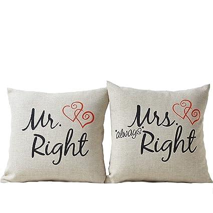 Cuscini Mr Right Mrs Always Right.Westeng Custodia Di Cuscino Con Stampa Lettera Mr Right Mrs Always