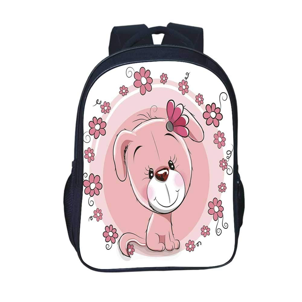 Dog Durable Backpack,Cute Little Puppy with Daisy Flowers Cheerful Adorable Pet Girls Room Decor for School Travel,11.8''L x 6.2''W x 15.7''H