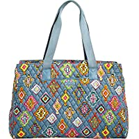 Vera Bradley Luggage Womens Triple Compartment Travel Bag (Painted Medallions with Mineral Blue)