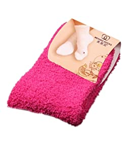 Momola Les Femmes Filles Molles Chaussettes moelleuses en Hiver à la Maison au Sol Couleur Pure (Rose Chaud)