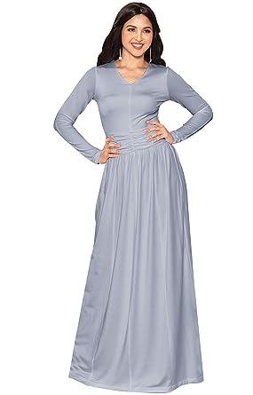 88e6748a4c0e7 KOH KOH Petite Womens Long Sleeve Floor Full Length V-Neck Ruched Empire  Waist Formal