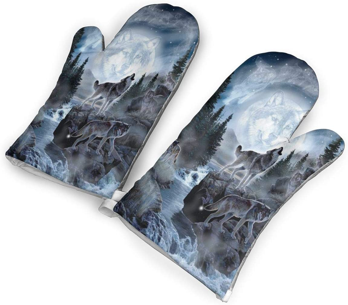 Feederm Moon Wolf Oven Mitts,Professional Heat Resistant Microwave Oven Insulation Thickening Gloves Baking Pot Mittens Soft Inner Lining Kitchen Cooking