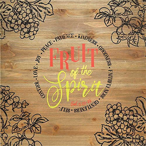 Fruit of the Spirit 20 x 20 Wood Plank Style Wall Sign (Fruit Of The Spirit Scripture)