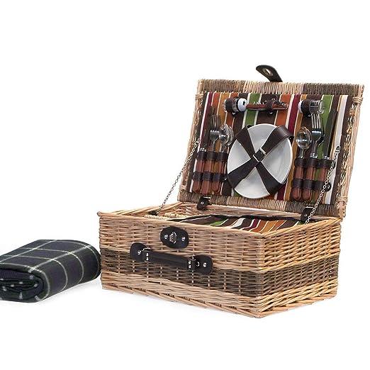 boda aniversario y empresarial 2/persona mimbre cesta de Picnic con construido en compartimento enfriador y lujo/ /Cuberter/ía de acero inoxidable ideas para cumplea/ños