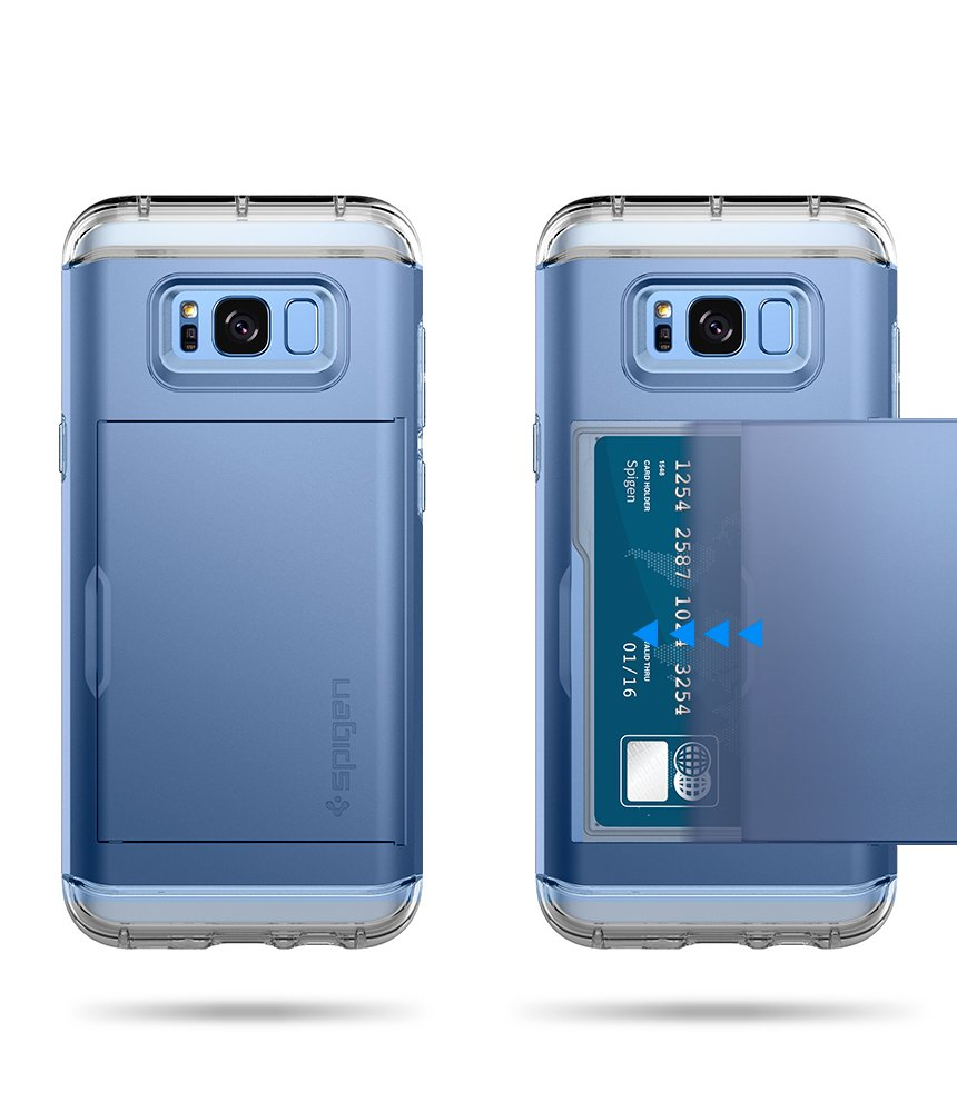 Spigen Crystal Wallet Galaxy S8 Case with Slim Dual Layer Wallet Design and Card Slot Holder for Galaxy S8 (2017) - Coral Blue by Spigen (Image #5)