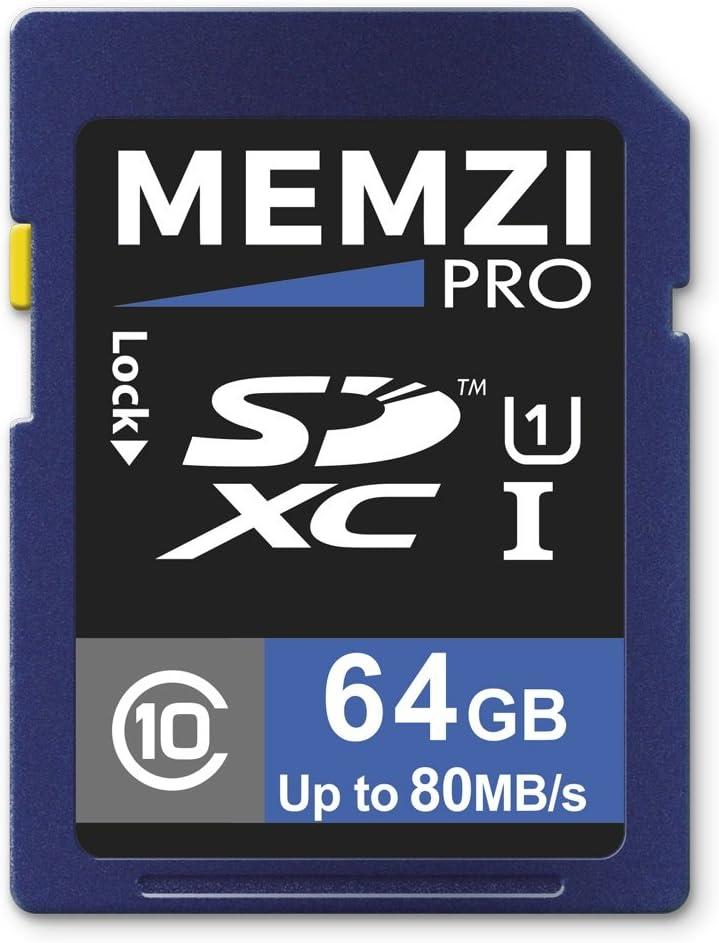 Memzi Ultima Pro 64GB Clase 1080MB/s tarjeta de memoria SDXC para Sony Alpha A3000, A5000, A6000, A5100Cámaras Digital de lentes intercambiables con montura tipo E