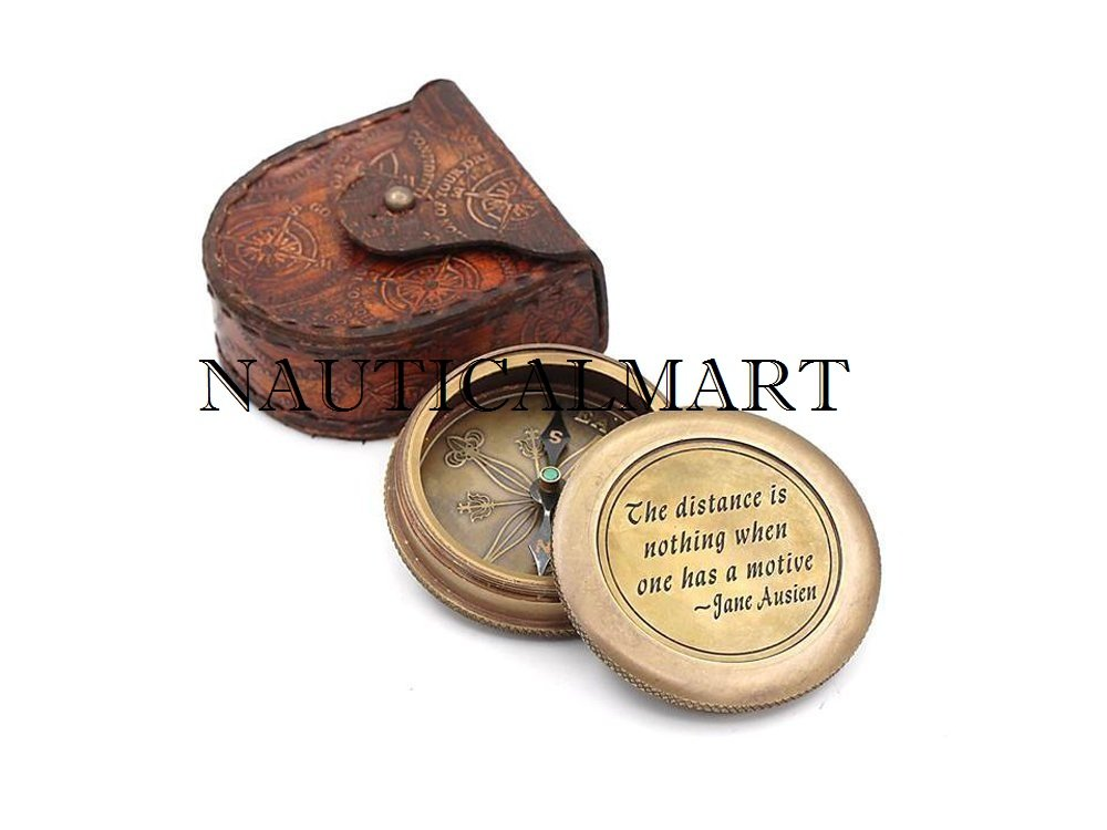 NAUTICAL MART Design Leder-Kompass aus Messing, mit Lederetui, von is nothing, Einheitsgröße, silberfarben