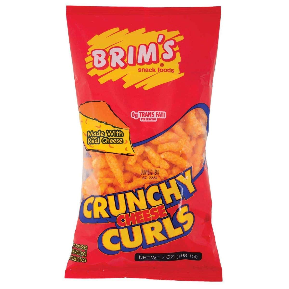 (Pack of 16) Brims Crunchy Cheese Curls Cheese Curls Cheddar Cheese, 7oz