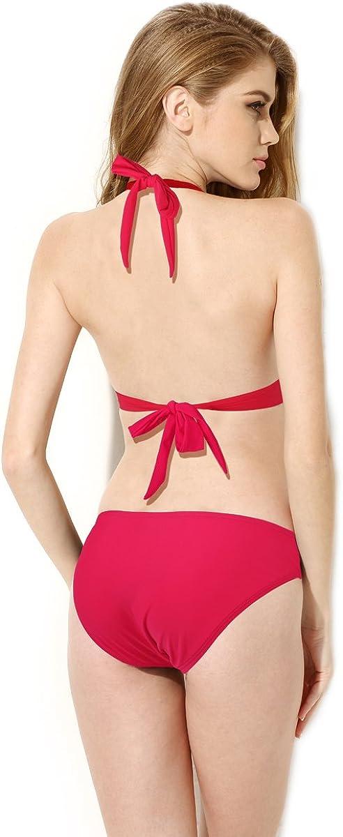 Colloyes Womens Print Swimwear Cut-Out Bikini Bandeau