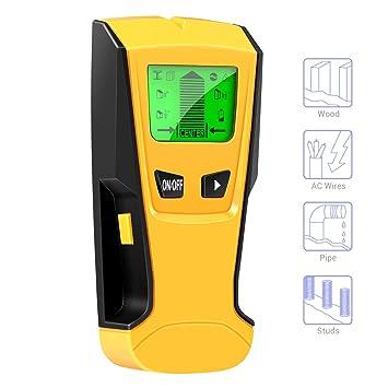 Surenhap Detector Materials 3 EN 1 Pantalla LCD Detector De Pared para Detecta AC Cable Stud Detector Metal, Tubos, Líneas de alimentación, Live AC Lines, ...
