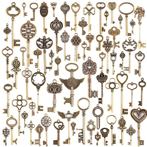 (KeyZone Wholesale 69 Pieces Large Antique Bronze Vintage Skeleton Mixed Key Charms Necklace Pendant for DIY Jewelry)