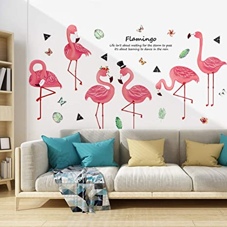 Amazon Com Wallpark Dancing Flamingo Removable Wall Sticker Decal Living Room Bedroom Home Decoration Adhesive Diy Art Wall Mural Home Kitchen