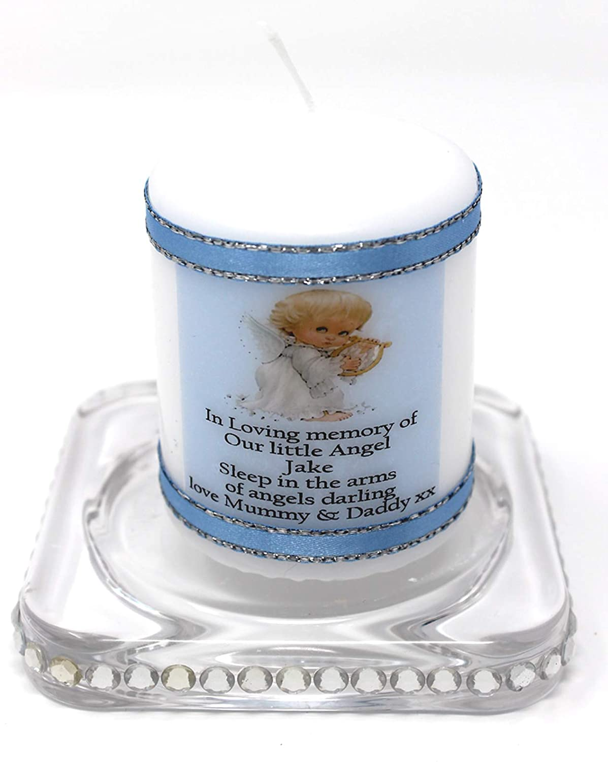 Baby Boy Angel memorial candle blue personalised remembrance or sympathy Cellini Candles