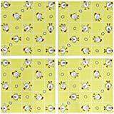 3dRose cst_10777_3 Chicken Dance Print White and Yellow-Ceramic Tile Coasters, Set of 4