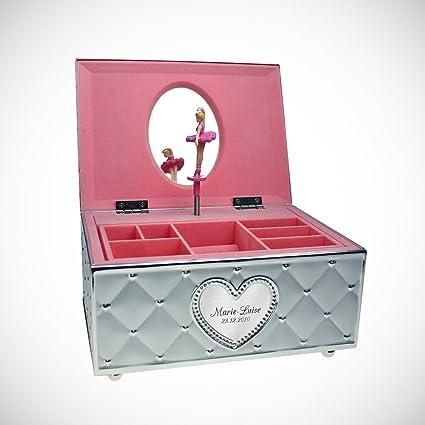 Gravado Caja de bisutería bañada en plata con música – Joyero con placa de corazón grabada