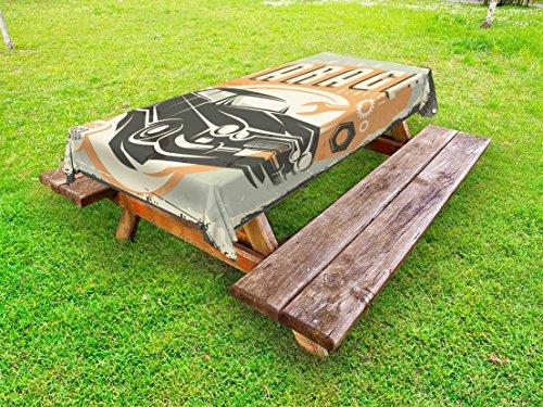 Lunarable Man Cave Outdoor Tablecloth, Promotional Retro Design Auto Mechanic Car Service Style Concept Nostalgic Vehicle, Decorative Washable Picnic Table Cloth, 58 X 120 Inches, Multicolor
